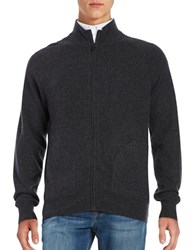 Black Brown Cashmere Zip Up Sweater Coal Grey