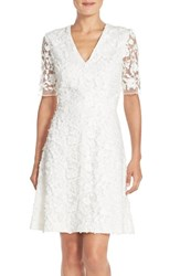 Women's Adrianna Papell Lace Mesh Fit And Flare Dress
