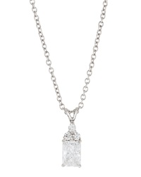 Fantasia 18K White Gold Plated Emerald Cut Cz Pendant Necklace