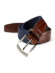 Saks Fifth Avenue Woven Belt Navy