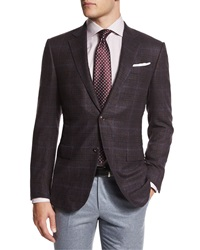 Ermenegildo Zegna Trofeo Plaid Two Button Jacket Burgundy Red