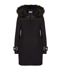Claudie Pierlot Great Faux Fur Trim Coat Female Black