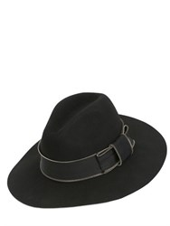 Karl Lagerfeld Zipped Wool Felt Wide Brim Hat