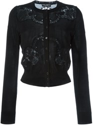 Dolce And Gabbana Floral Lace Inserts Cardigan Black