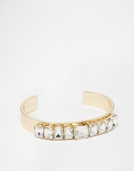 Love Rocks Crystal Open Cuff Bracelet Gold