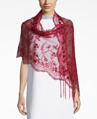 Betsey Johnson Blue Label Sequined And Fringe Evening Wrap Crimson