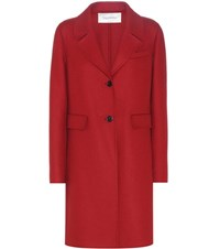 Valentino Virgin Wool And Angora Blend Coat Red
