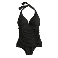 J.Crew Ruched Halter One Piece Swimsuit Black