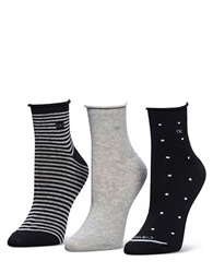 Calvin Klein Polka Dot And Stripe Anklet Sock Set 3 Pair Assorted Black