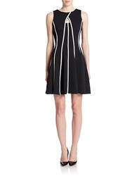 Gabby Skye Piped Pleated Fit And Flare Dress Black Ivory