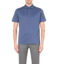Canali Diamond Pattern Cotton Pique Polo Shirt Blue