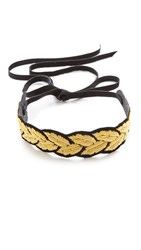 Rendor And Steel Leaf Choker Necklace Gold Black