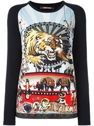 Roberto Cavalli Tiger Print Longsleeved Top Black