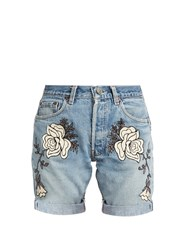 Bliss And Mischief Shadow Flower Embroidered Denim Shorts Denim Multi