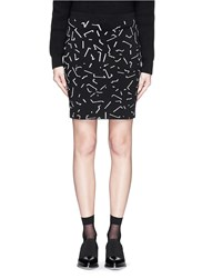 Alexander Wang Shadow Line Jacquard Ponte Knit Pencil Skirt Black