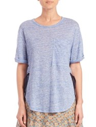 Derek Lam Lace Up Linen Pocket Tee