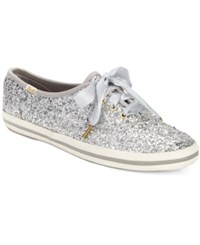 Kate Spade Keds For New York Glitter Lace Up Sneakers Women's Shoes Silver