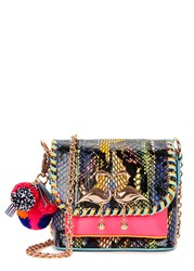 Sophia Webster Claudie Pompom Watersnake Shoulder Bag Multicoloured