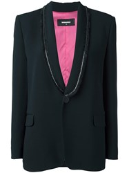 Dsquared2 Sequin Frayed Lapel Blazer Black
