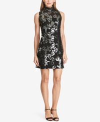 American Living Sequin Jacquard Dress Black Gunmetal
