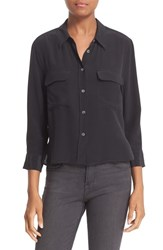Equipment Women's 'Signature' Crop Three Quarter Sleeve Shirt True Black