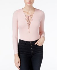 Guess Lola Long Sleeve Lace Up Bodysuit Coral Cloud