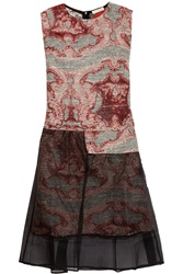 Michael Van Der Ham Lucy Silk Jacquard And Organza Dress Red