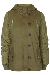 Topshop Lightweight Cotton Jacket Khaki