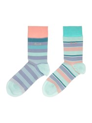 Elle Striped 2 Pack Bamboo Ankle Sock Blue