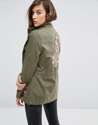 New Look Utility Jacket With Tiger Embroidered Back Dark Khaki Green