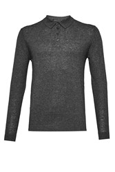 French Connection Men's Autumn Portrait Long Sleeve Polo Shirt Charcoal