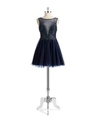 Basix Ii Illusion Neck Fit And Flare Dress Navy