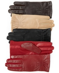 Isotoner Signature Isotoner Gathered Stretch Leather Tech Touch Gloves