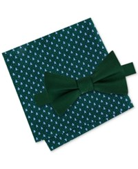 Tommy Hilfiger Men's Solid Bow Tie And Holiday Tree Print Pocket Square Set Hunter