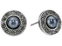Oscar De La Renta Pearl P Stud Earrings Black Diamond Silver