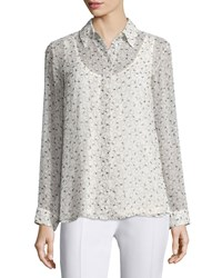 See By Chloe Long Sleeve Button Front Shirt Beige Multi Beige Multi
