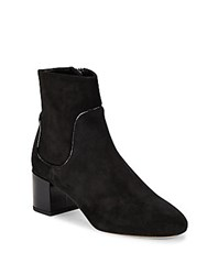 Michael Kors Erin Patent Leather Trimmed Suede Booties Black