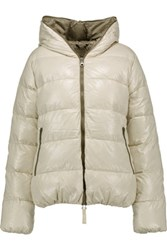 Duvetica Thia Quilted Shell Down Hooded Coat Off White