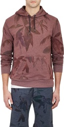 Paul Smith Jeans Floral And Leaf Print French Terry Hoodie Red Size S