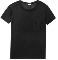 Saint Laurent Slim Fit Washed Silk Jersey T Shirt Black