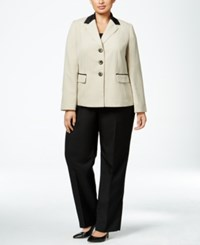 Le Suit Plus Size Three Button Colorblocked Pantsuit Wheat Black