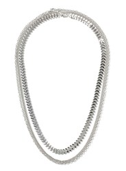 Topman Silver Look Multi Row Chain Necklace Metallic