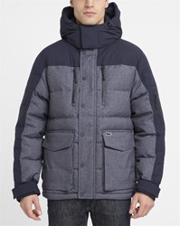 Lacoste Navy And Grey Technical Waterproof Fabric Down Jacket Blue