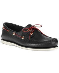 Timberland Classic 2 Eye Boat Shoes Men's Shoes Black W Red Lace
