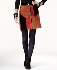 Inc International Concepts Leather Patchwork A Line Skirt Only At Macy's Navajo Combo