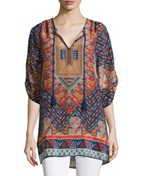 Tolani Stacey Silk Printed Long Tunic Marine Women's