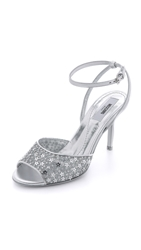 Moschino Star Sequined Metallic Sandals Silver