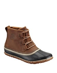 Sorel Out And About Leather And Rubber Ankle Boots Natural