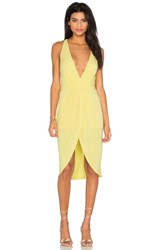 Bobi Black Liquid Jersey V Neck Slit Mini Dress Yellow