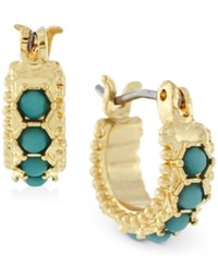 Bcbgeneration Gold Tone Blue Stone Bead Huggy Hoop Earrings